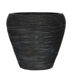 Кашпо Capi Nature Vase Tapered Round, rib black