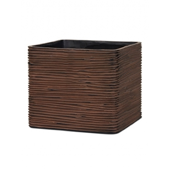 Кашпо Capi nature planter square rib brown