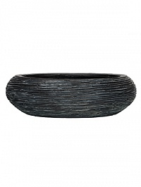 Кашпо Capi Nature bowl round rib 2-й размер black, чёрный