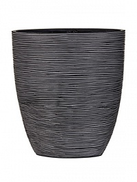 Кашпо Capi Nature oval planter rib 3-й размер black, чёрный