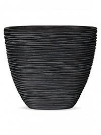 Кашпо Capi Nature planter oval s rib high black, чёрный