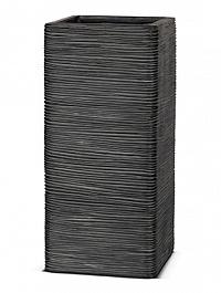 Кашпо Capi Nature square rib 1-й размер black, чёрный