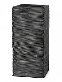 Кашпо Capi Nature square rib 2-й размер black, чёрный