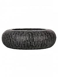 Кашпо Capi Nature stone bowl round 1-й размер black, чёрный