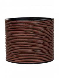 Кашпо Capi Nature vase cylinder 3-й размер rib brown, коричневый