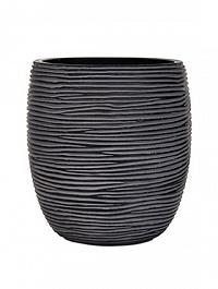 Кашпо Capi Nature vase elegant high 2-й размер rib black, чёрный