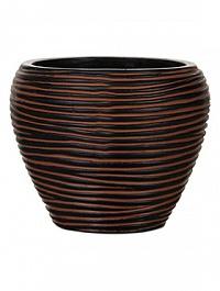 Кашпо Capi Nature vase taper round rib 2-й размер brown, коричневый