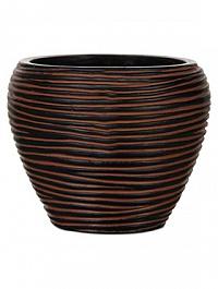 Кашпо Capi Nature vase taper round rib 3-й размер brown, коричневый