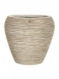 Кашпо Capi Nature vase tapering round rib 1-й размер ivory, слоновая кость