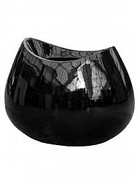 Кашпо Livingreen blob 1 polished black, чёрного цвета Длина — 65 см
