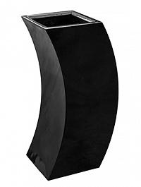 Кашпо Livingreen curvy marilyn 2 polished jet black, чёрного цвета Длина — 35 см