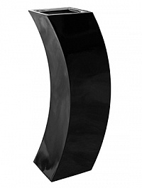 Кашпо Livingreen curvy marilyn 3 polished jet black, чёрного цвета Длина — 35 см