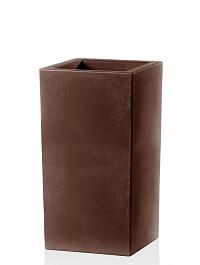 Кашпо TeraPlast Schio Cubo Alto 80 bronze, бронзового цвета Длина — 40 см