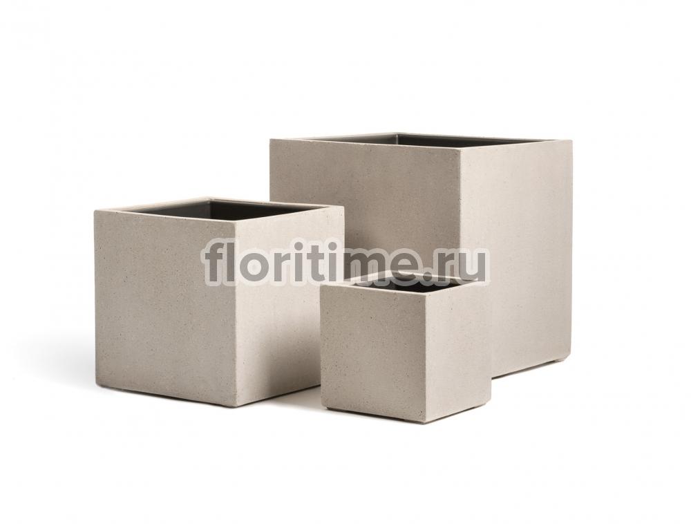Кашпо Effectory Beton куб : белый песок