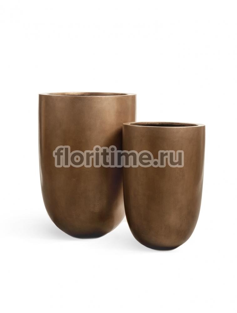Кашпо Effectory Metal высокий конус-чаша : темное матовое золото