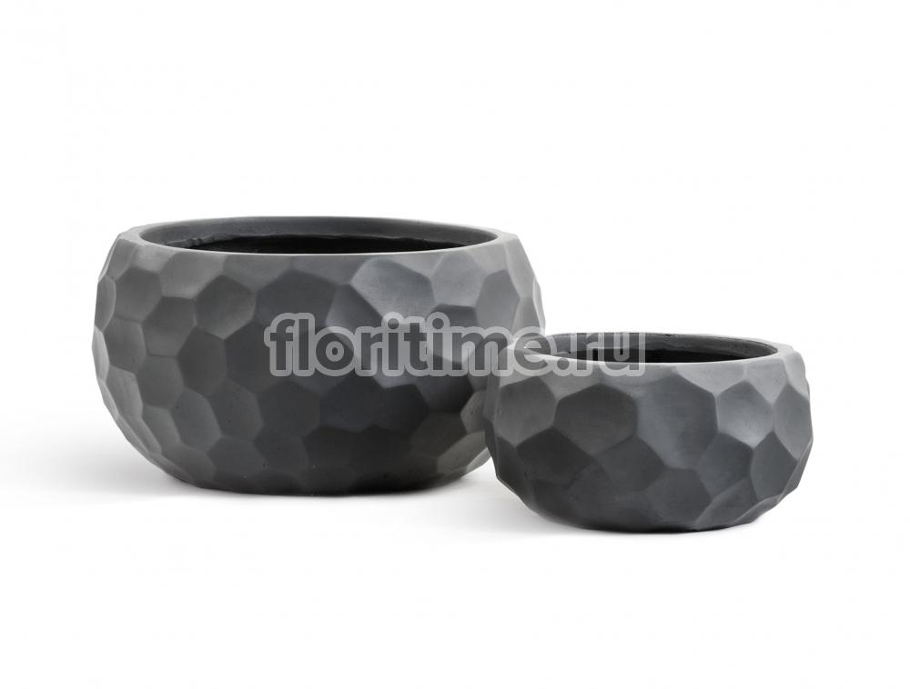Кашпо Ergo Comb низкая  полусфера: темно-серый бетон.