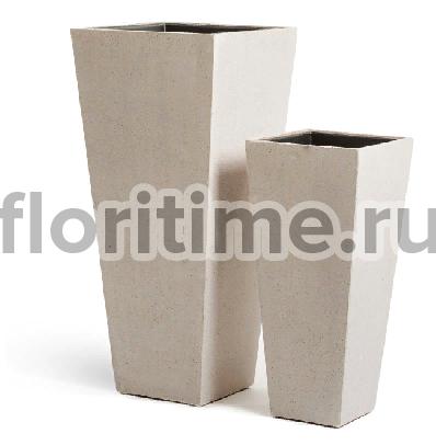 Кашпо Effectory Beton высокая трапеция : белый песок