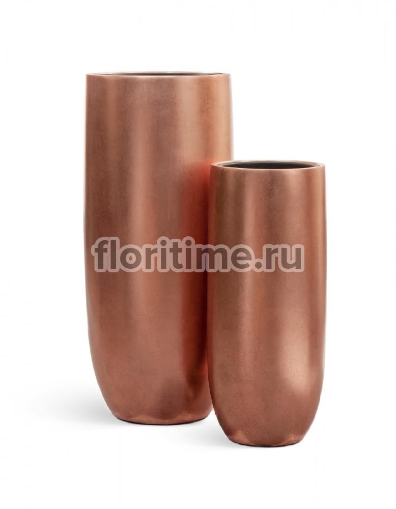 Кашпо Effectory Metal высокий округлый конус : розовая медь