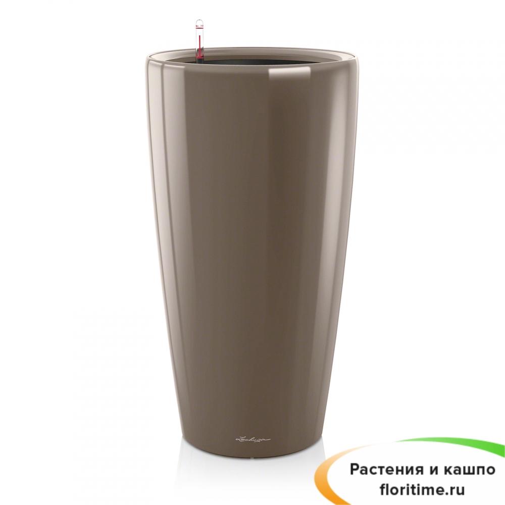 Кашпо Lechuza Rondo, серо-коричневый блестящий