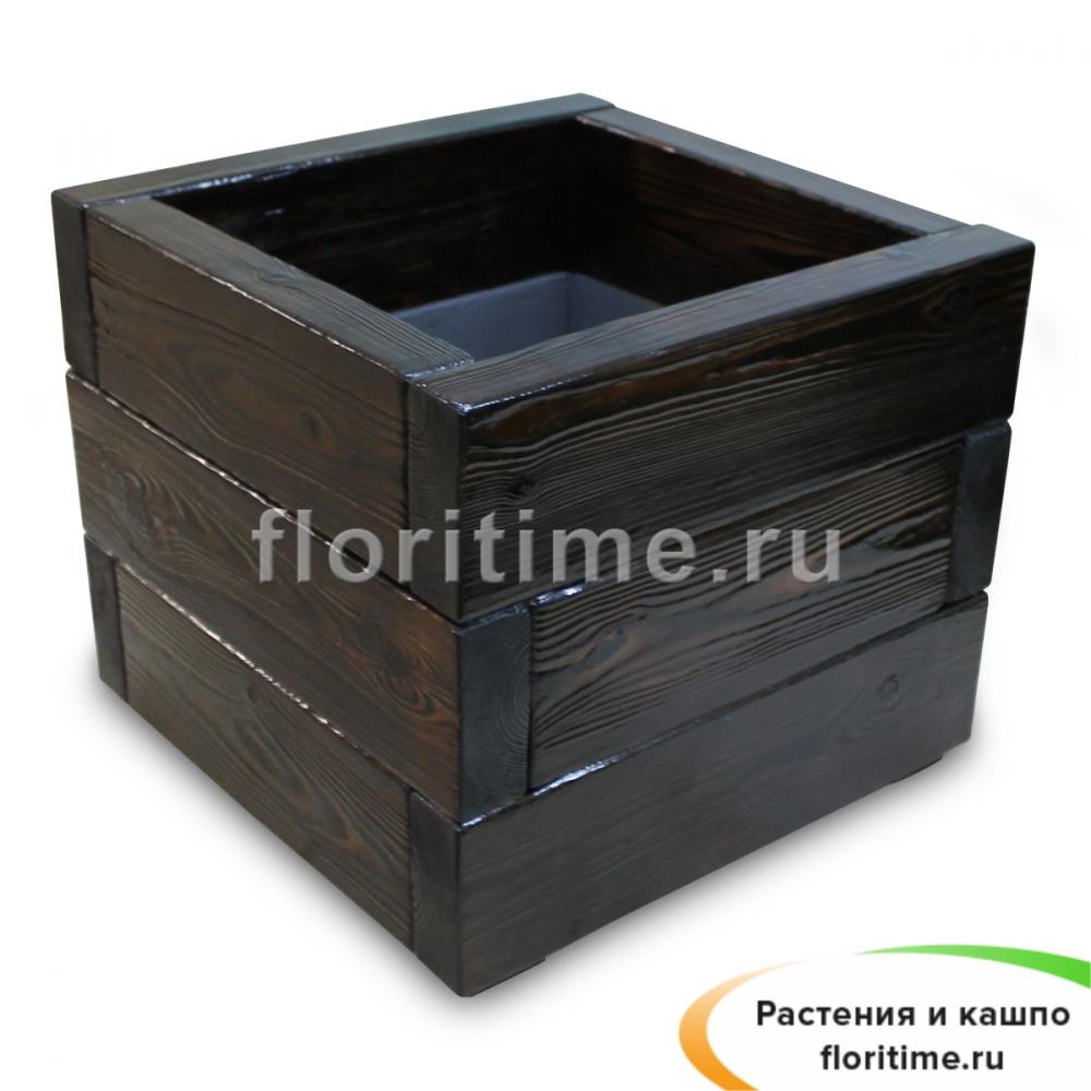 Кашпо Деревенский куб, дерево