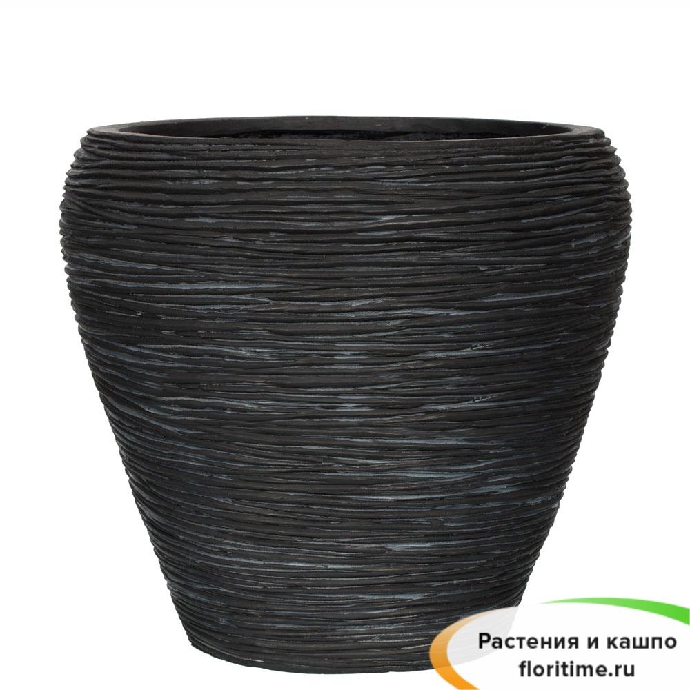 Кашпо Capi Nature Vase Tapered Round, rib black