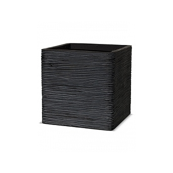 Кашпо Capi Nature egg planter square rib 2-й размер black, чёрный