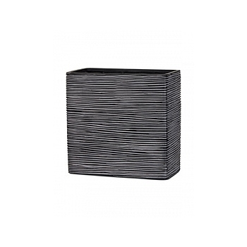Кашпо Capi Nature planter rect high 2-й размер rib black, чёрный