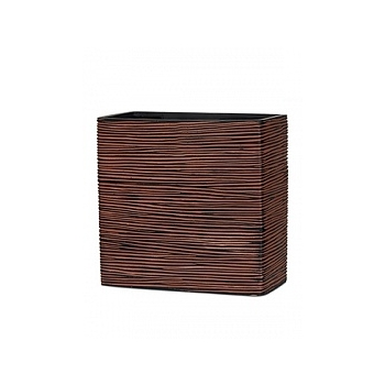 Кашпо Capi Nature planter rect high 3-й размер rib brown, коричневый