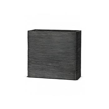 Кашпо Capi Nature rectangle rib 1-й размер black, чёрный