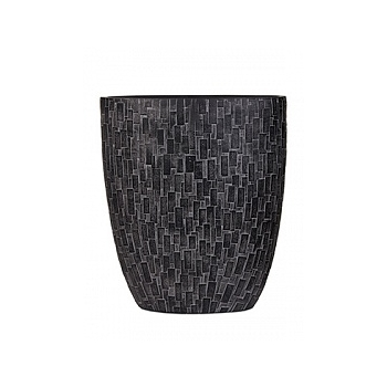 Кашпо Capi Nature stone oval planter 3-й размер black, чёрный