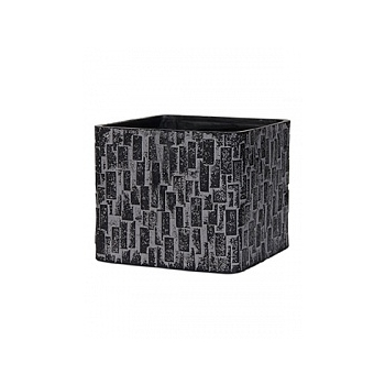 Кашпо Capi Nature stone planter square 4-й размер black, чёрный