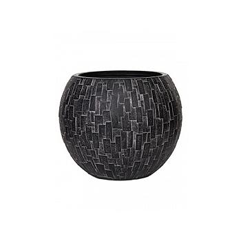 Кашпо Capi Nature stone vase ball 2-й размер black, чёрный