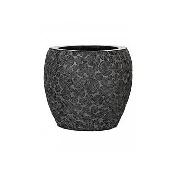 Кашпо Capi Nature wood vase elegant 2-й размер black, чёрный