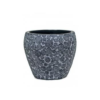 Кашпо Capi Nature wood vase taper round 2-й размер black, чёрный