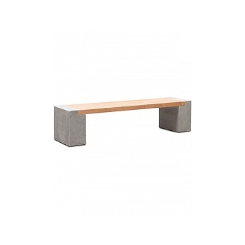 Кашпо Fleur Ami Modulo division с лавкой combi set f natural-фактура под бетон / teak Длина — 184 см