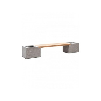 Кашпо Fleur Ami Modulo division с лавкой combi set k natural-фактура под бетон / teak Длина — 302 см