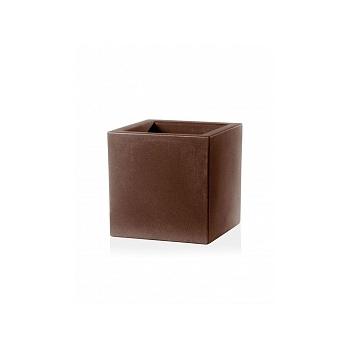 Кашпо TeraPlast Schio Cubo 40 bronze, бронзового цвета Длина — 40 см