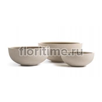 Кашпо Effectory Beton низкая чаша : белый песок