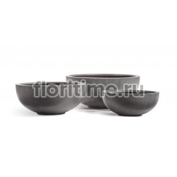 Кашпо Effectory Beton низкая чаша : темно-серый