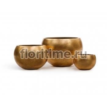Кашпо Effectory Metal полусфера : сусальное золото