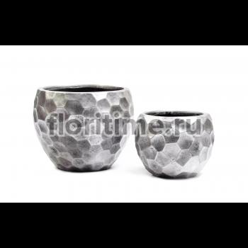 Кашпо Ergo Comb полусфера: застаренное серебро