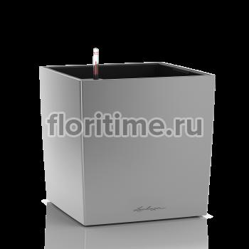 Кашпо Lechuza Cube, серебристый металлик