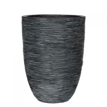 Кашпо Capi Nature Vase Elegant Low, rib black