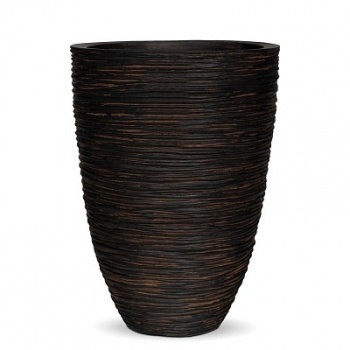 Кашпо Capi Nature Vase Elegant Low, rib brown