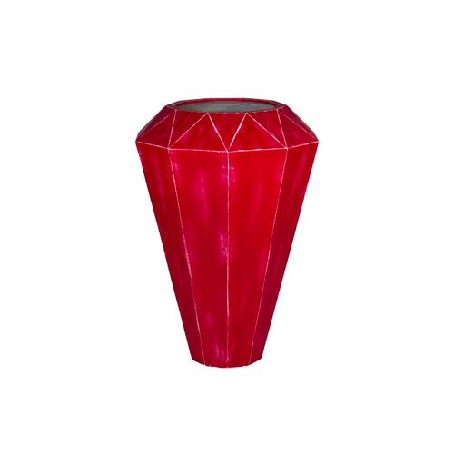 Кашпо Alegria Diamond, красный шлифованый