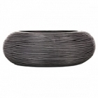 Кашпо Capi Nature bowl round rib 1-й размер black, чёрный
