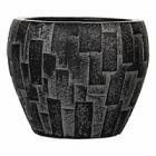 Кашпо Capi Nature stone vase taper round 2-й размер black, чёрный