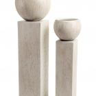 Кашпо Ergo Cork полусфера с колонной, белый песок