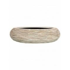 Кашпо Capi Nature bowl round rib 1-й размер ivory, слоновая кость