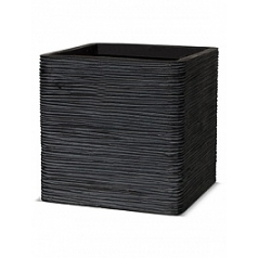 Кашпо Capi Nature egg planter square rib 1-й размер black, чёрный